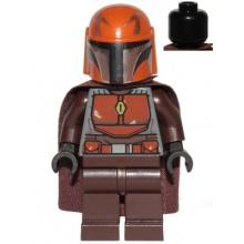 sw1079 - Mandalorian Tribe Warrior - Male, Dark Brown Cape, Dark Orange Helmet