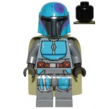 sw1080 - Mandalorian Tribe Warrior - Male, Olive Green Cape, Dark Azure Helmet