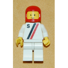 s007 - White with Red / Black Stripe, White Legs, Red Classic Helmet